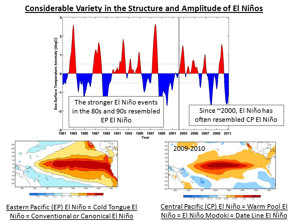 Considerable Variety in the Structure and Amplitude of El Niños