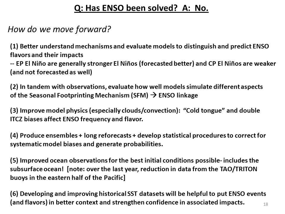 Q: Has ENSO been solved A: No.