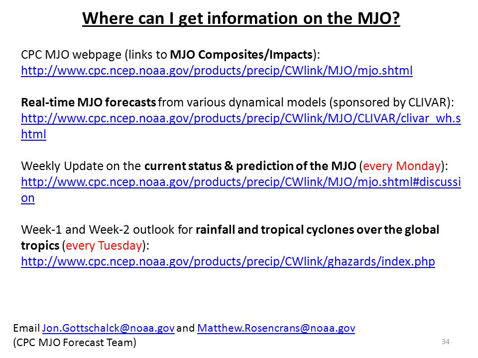 Where can I get information on the MJO