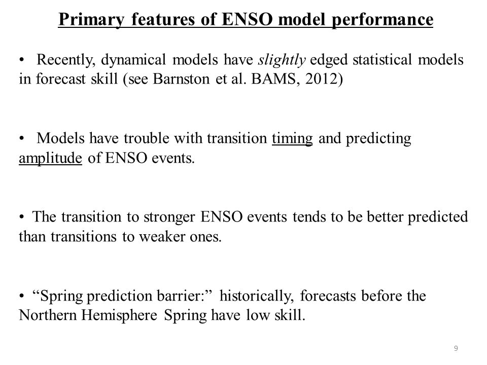 Primary features of ENSO model performance