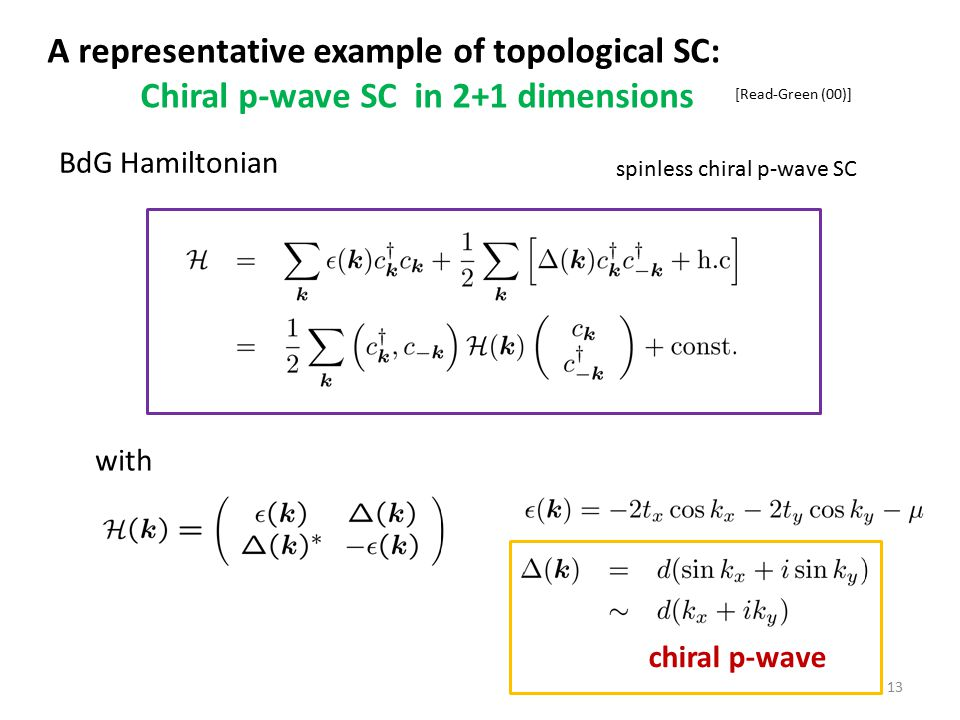 A representative example of topological SC: