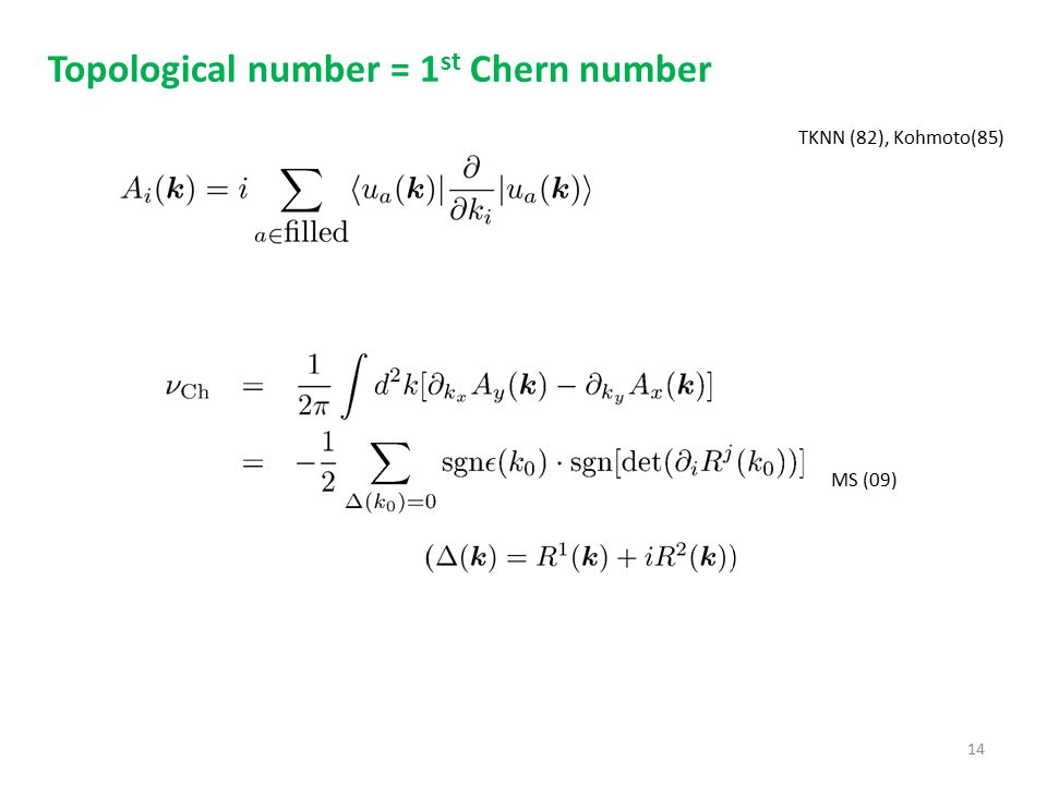 Topological number = 1st Chern number