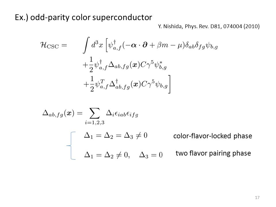 Ex.) odd-parity color superconductor