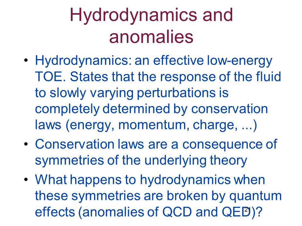 Hydrodynamics and anomalies