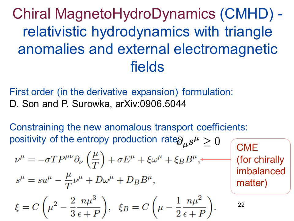 Chiral MagnetoHydroDynamics (CMHD) - relativistic hydrodynamics with triangle anomalies and external electromagnetic fields