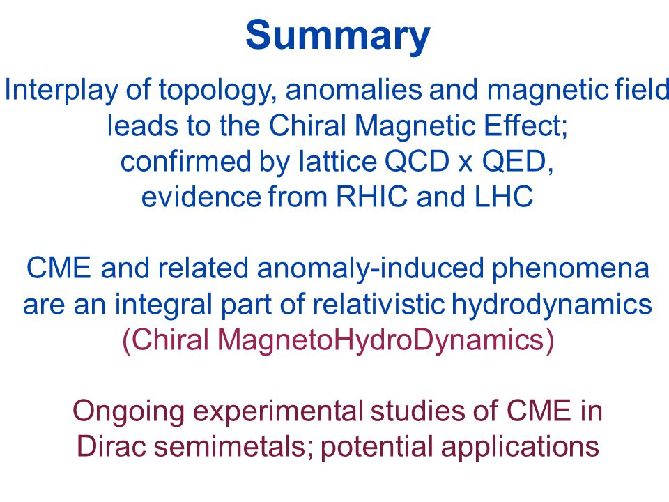 Summary Interplay of topology, anomalies and magnetic field leads to the Chiral Magnetic Effect; confirmed by lattice QCD x QED,