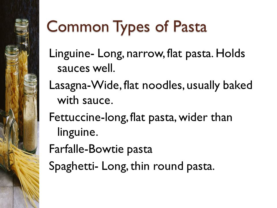 Common Types of Pasta
