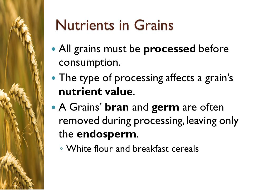 Nutrients in Grains All grains must be processed before consumption.