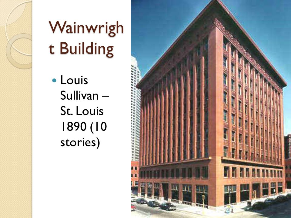 Wainwright Building Louis Sullivan – St. Louis 1890 (10 stories)
