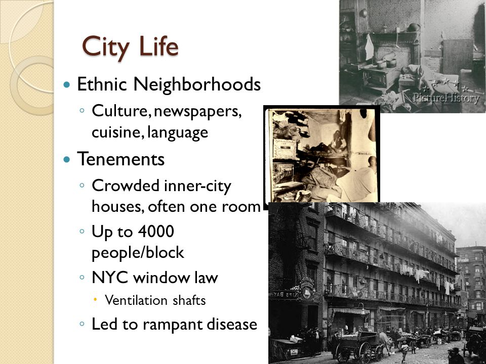 City Life Ethnic Neighborhoods Tenements
