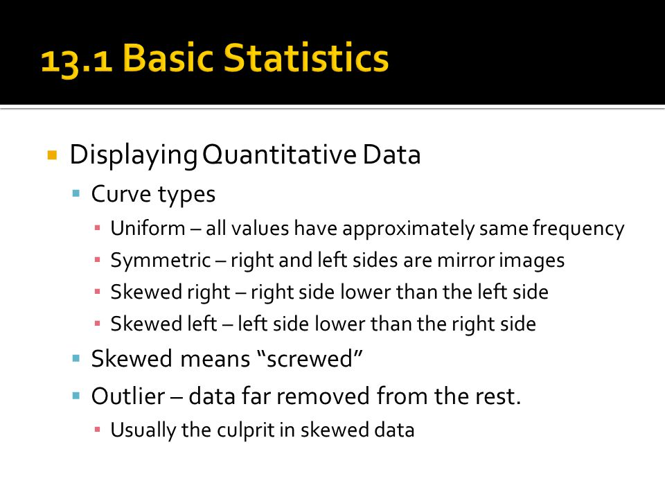 13.1 Basic Statistics Displaying Quantitative Data Curve types