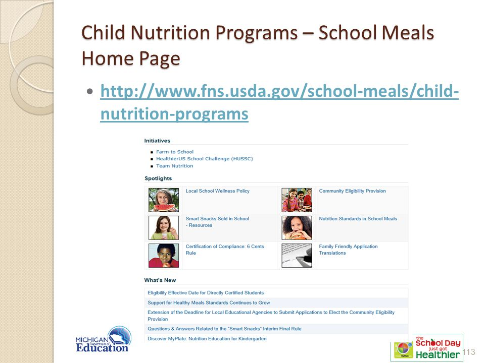 Child Nutrition Programs – School Meals Home Page