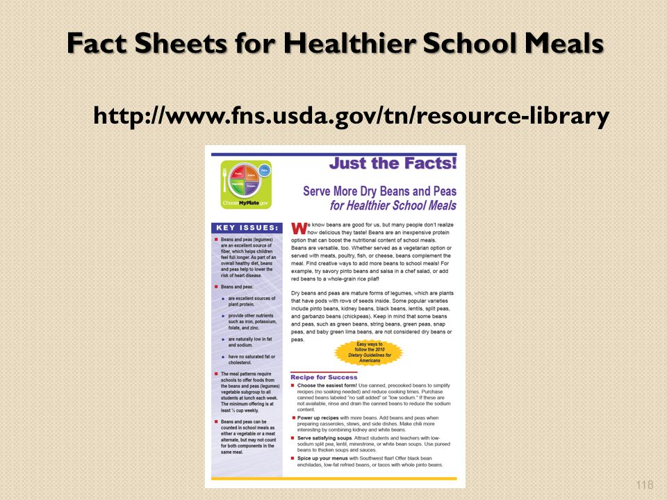 Fact Sheets for Healthier School Meals