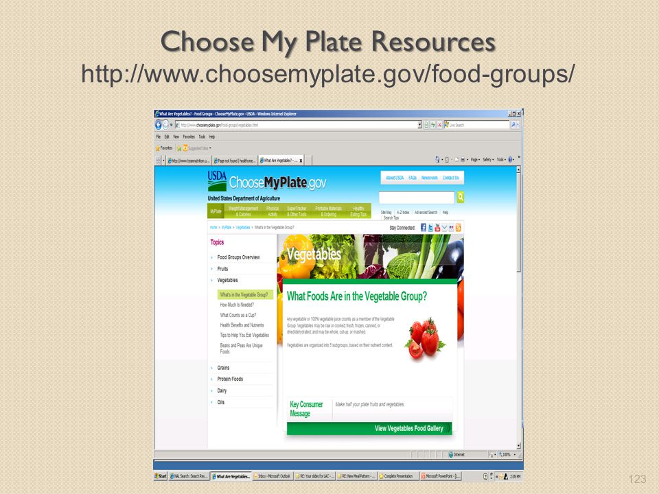 Choose My Plate Resources http://www.choosemyplate.gov/food-groups/