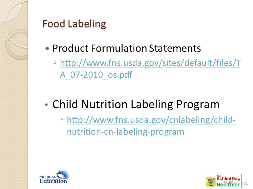 Child Nutrition Labeling Program