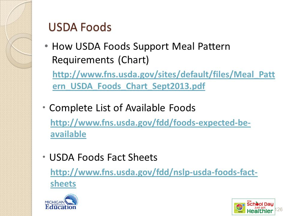 USDA Foods How USDA Foods Support Meal Pattern Requirements (Chart)
