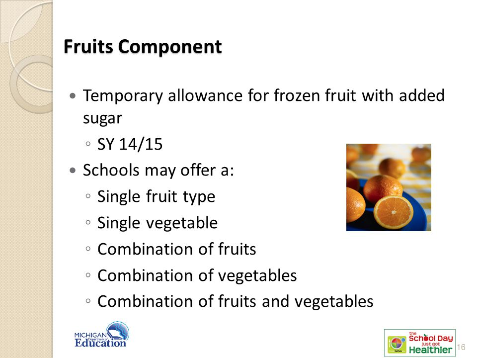 Fruits Component Temporary allowance for frozen fruit with added sugar