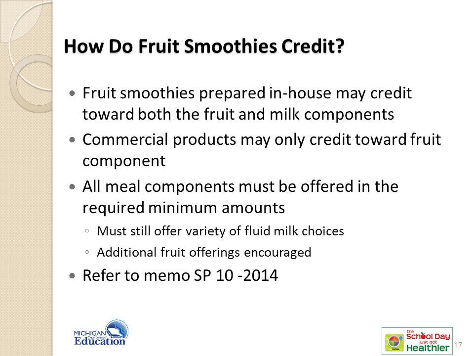 How Do Fruit Smoothies Credit