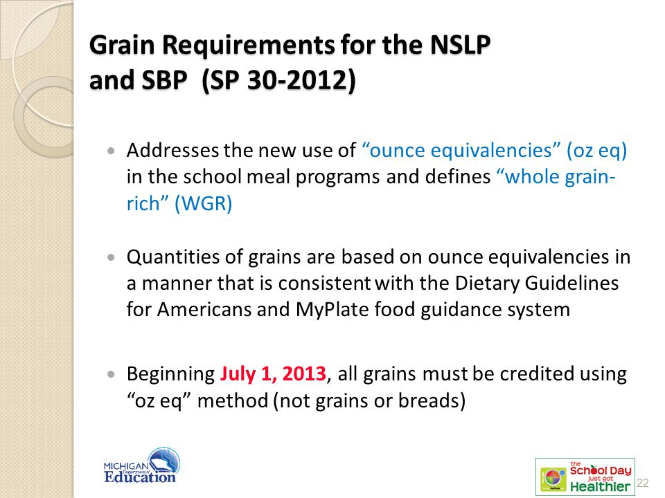 Grain Requirements for the NSLP and SBP (SP 30-2012)