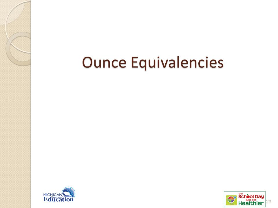 Ounce Equivalencies This will be a review of what was covered in the NSLP presentation.