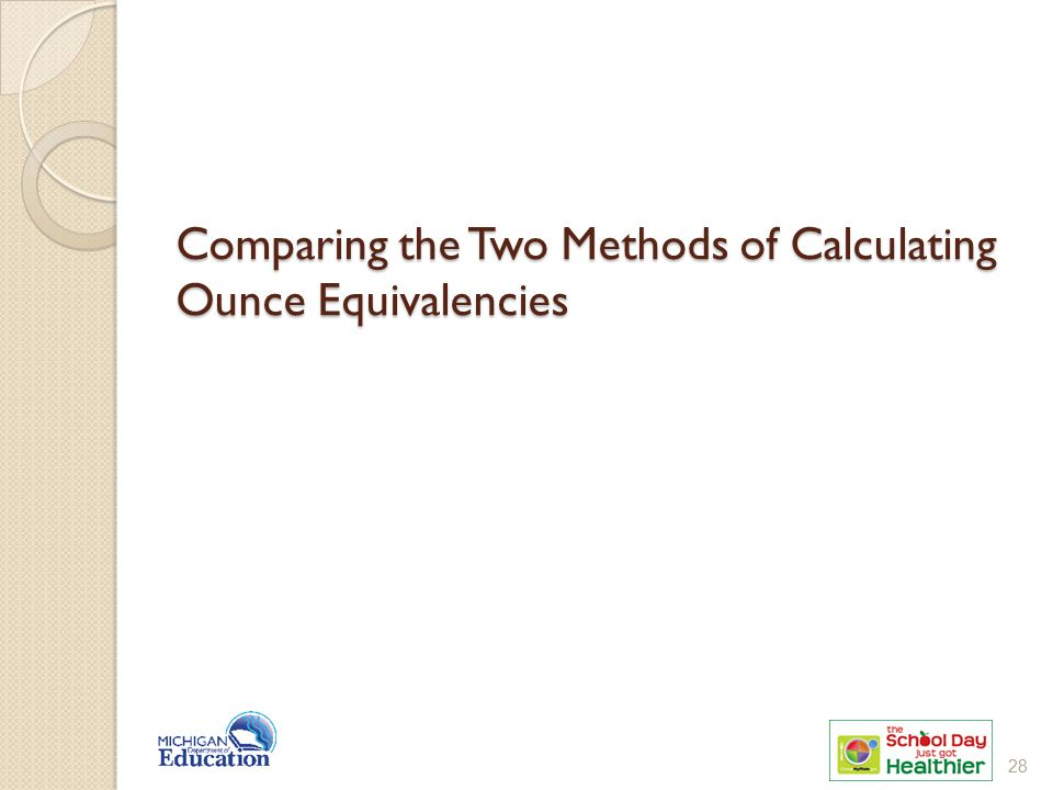 Comparing the Two Methods of Calculating Ounce Equivalencies