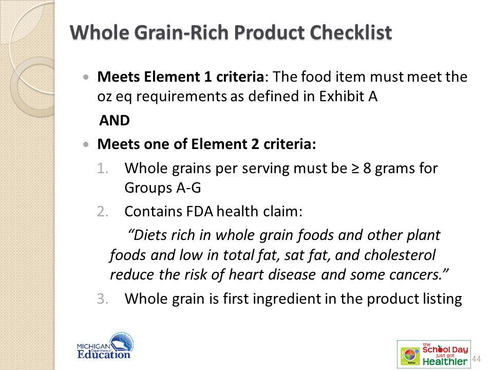Whole Grain-Rich Product Checklist
