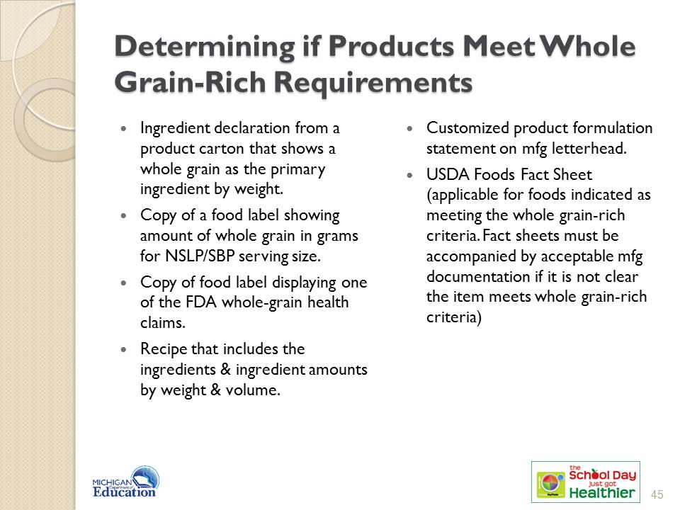 Determining if Products Meet Whole Grain-Rich Requirements