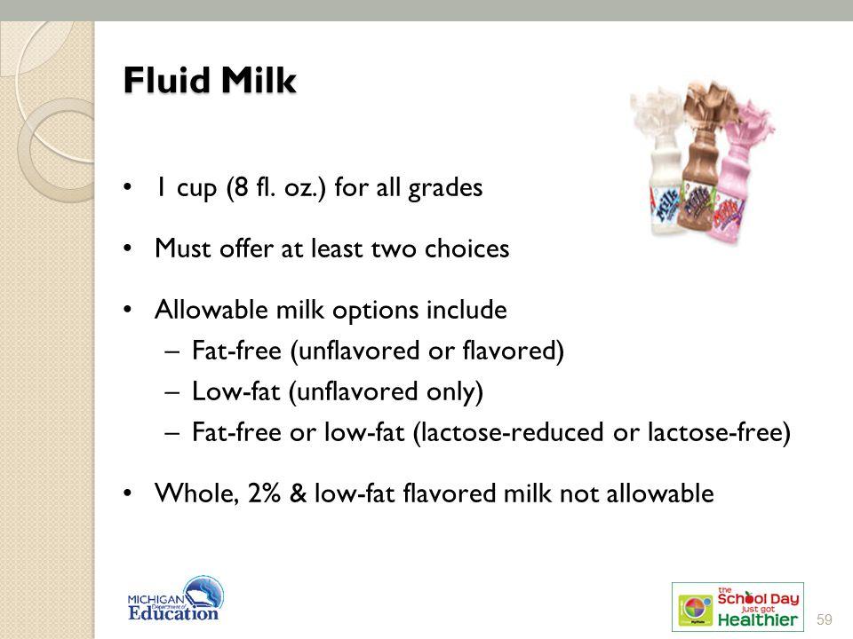 Fluid Milk 1 cup (8 fl. oz.) for all grades