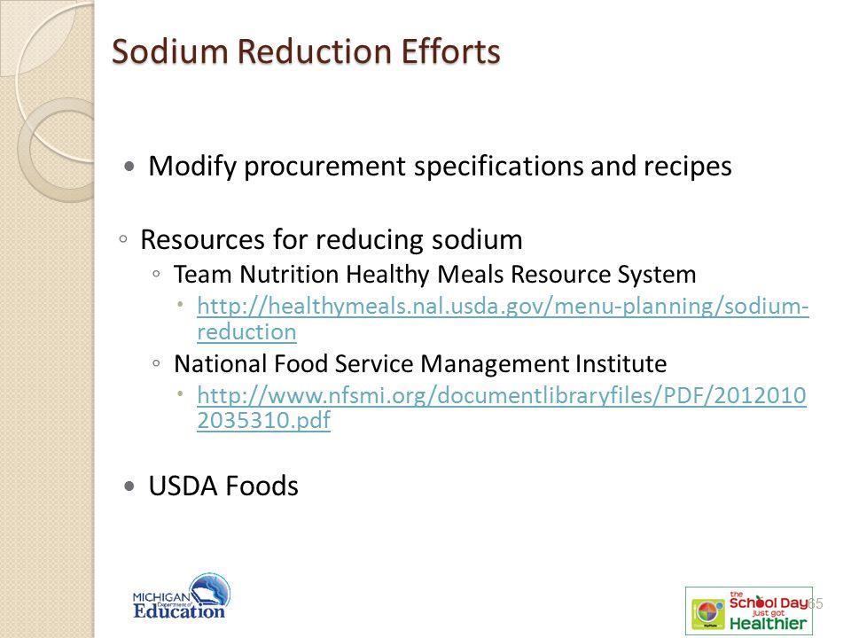 Sodium Reduction Efforts