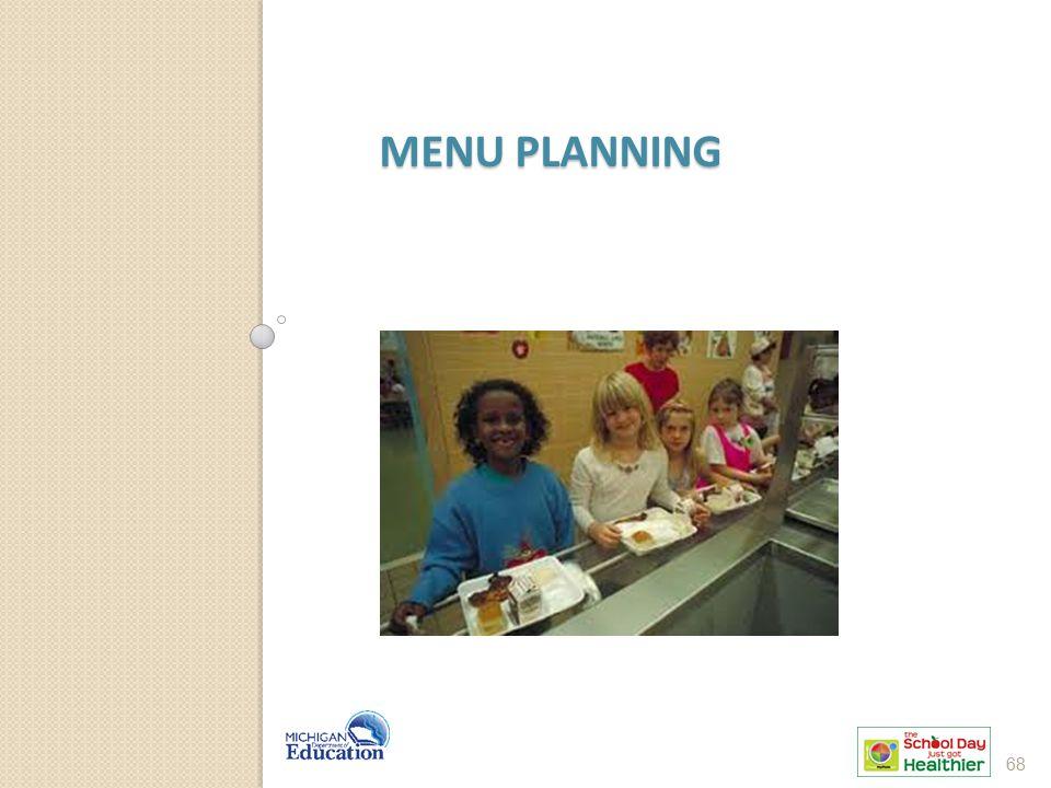 Menu Planning Let's talk about good menu planning practices. 68