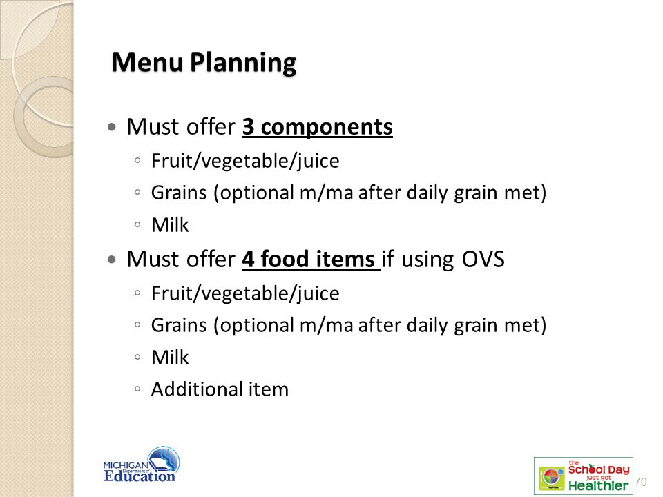 Menu Planning Must offer 3 components