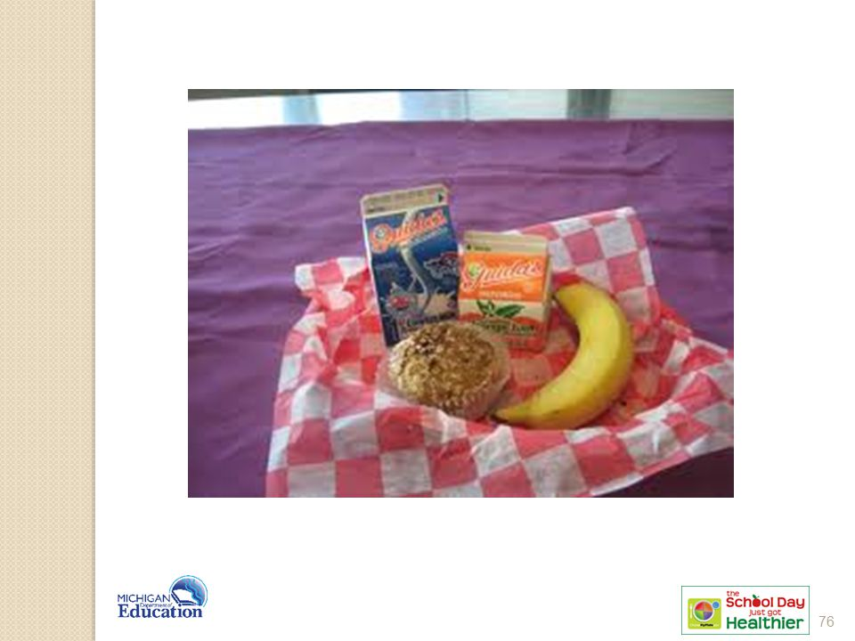 8 oz milk 4 oz juice + petite banana = 1 cup fruit 1 oz eq muffin
