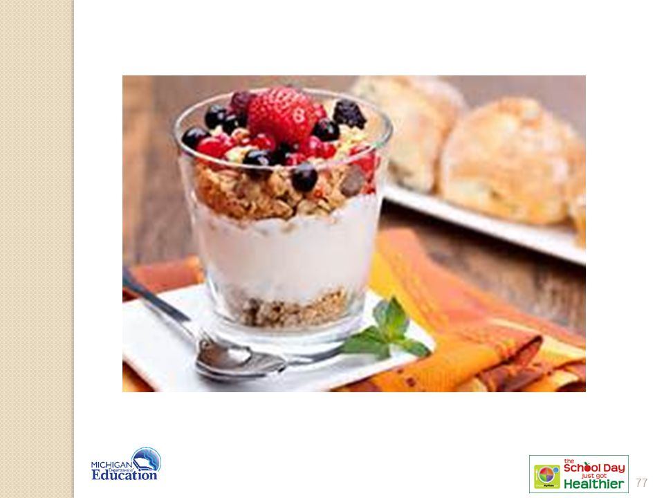 1 oz eq granola 4 oz yogurt = 1 oz eq grain. ½ cup fruit.