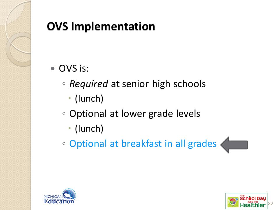OVS Implementation OVS is: Required at senior high schools