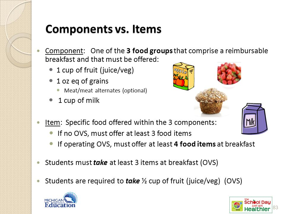 Components vs. Items Component: One of the 3 food groups that comprise a reimbursable breakfast and that must be offered:
