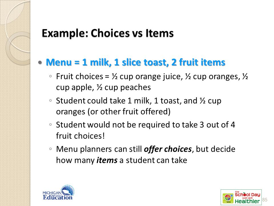Example: Choices vs Items