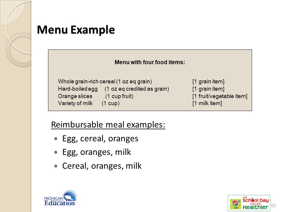 Menu with four food items: