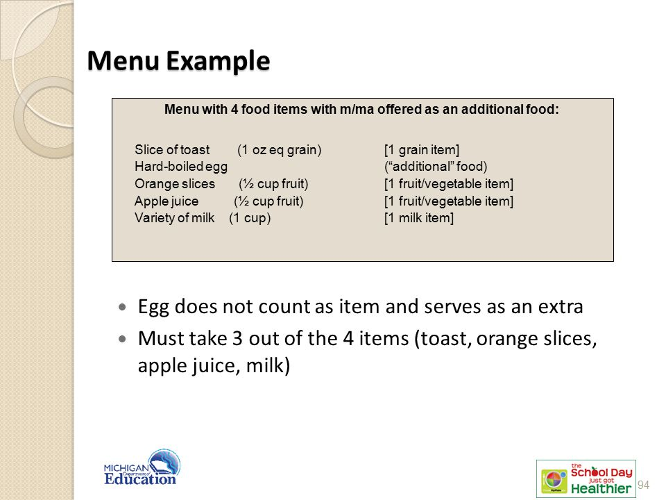 Menu with 4 food items with m/ma offered as an additional food: