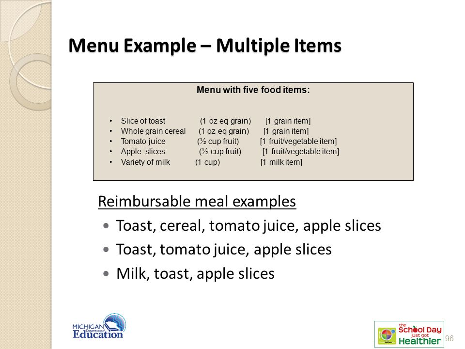 Menu Example – Multiple Items
