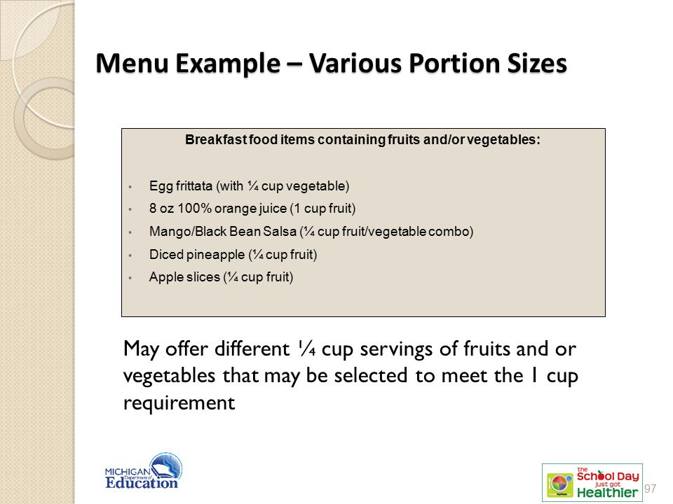 Menu Example – Various Portion Sizes