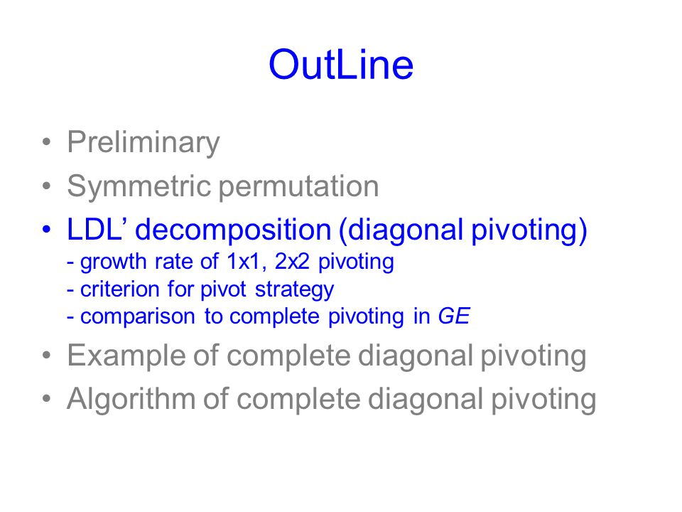 OutLine Preliminary Symmetric permutation