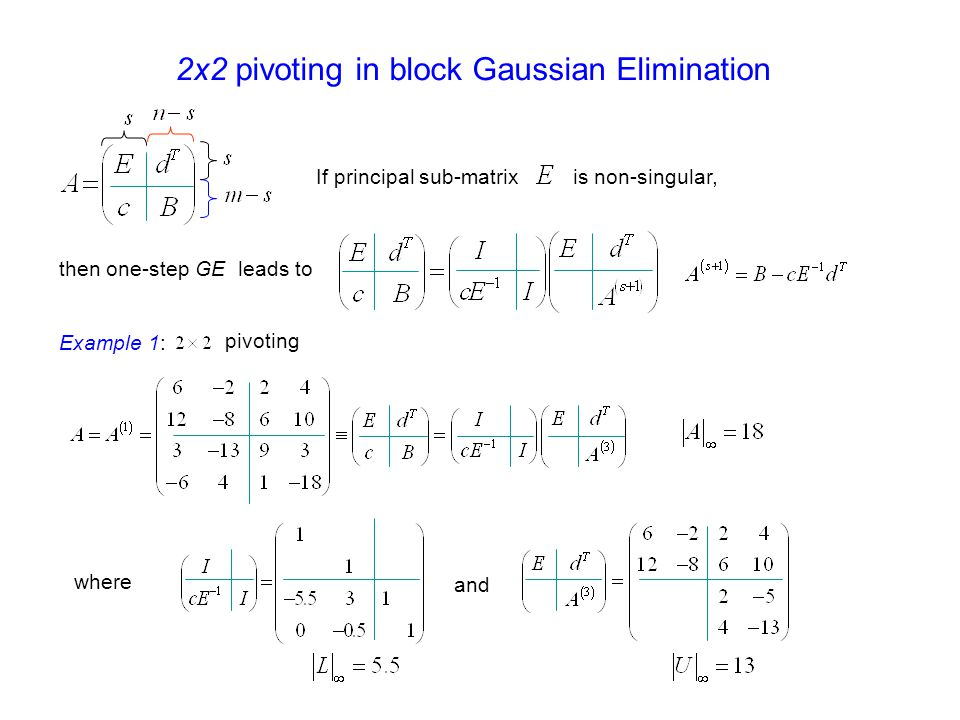 2x2 pivoting in block Gaussian Elimination