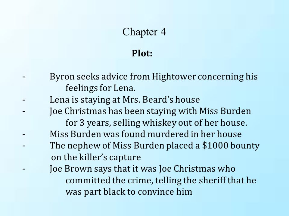 Chapter 4 Plot: - Byron seeks advice from Hightower concerning his feelings for Lena.