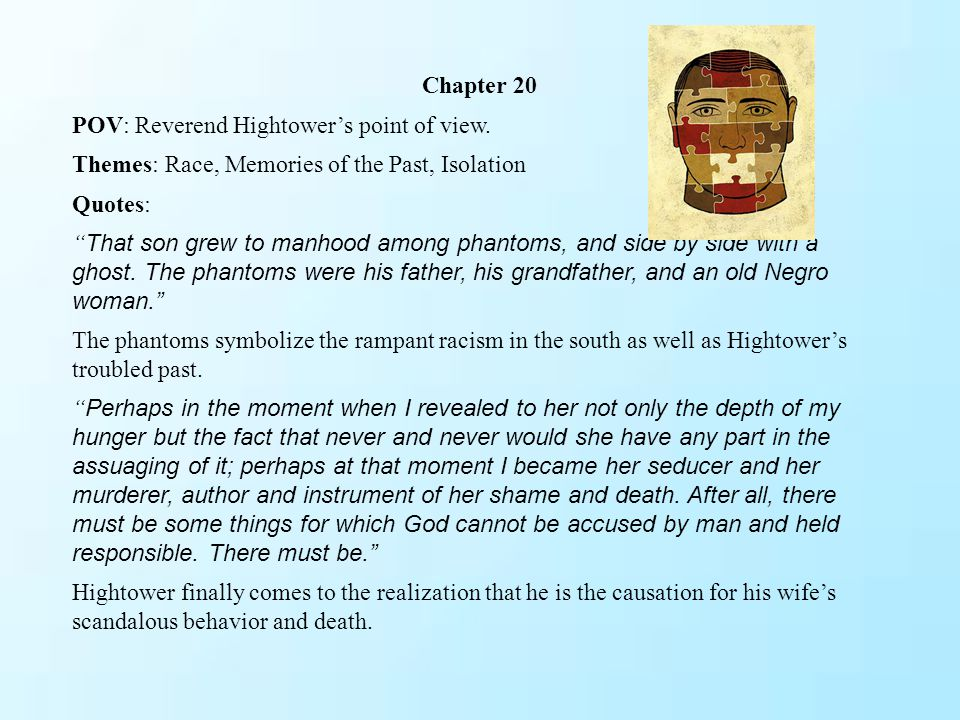 Chapter 20 POV: Reverend Hightower's point of view. Themes: Race, Memories of the Past, Isolation.