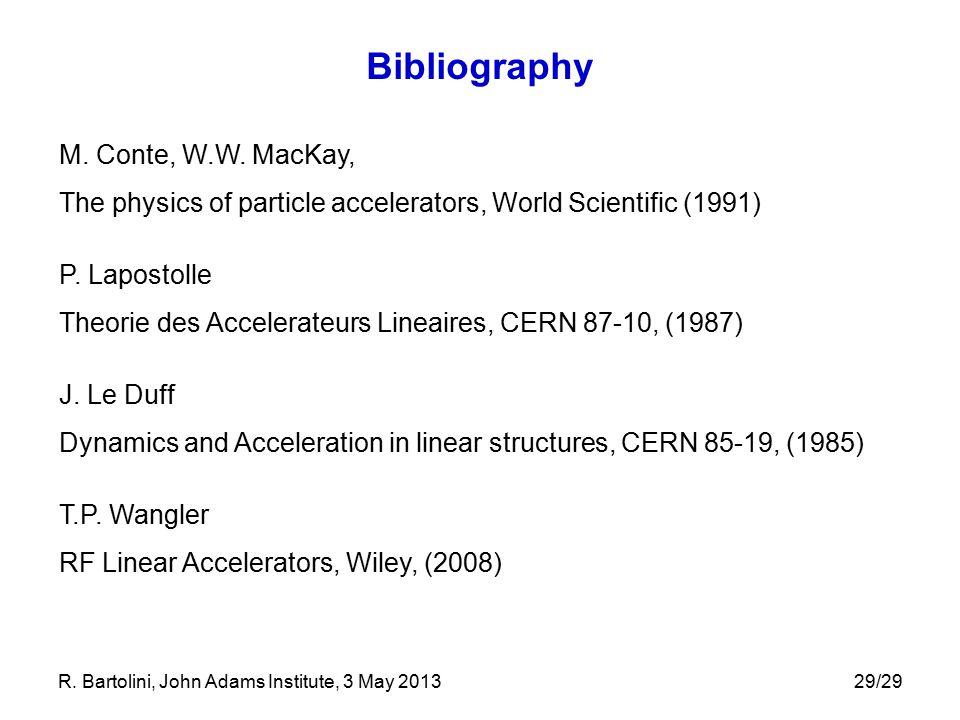 Bibliography M. Conte, W.W. MacKay,