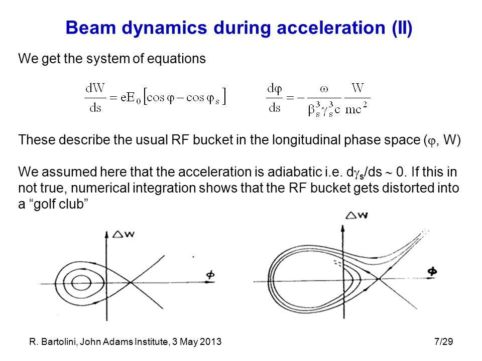 Beam dynamics during acceleration (II)