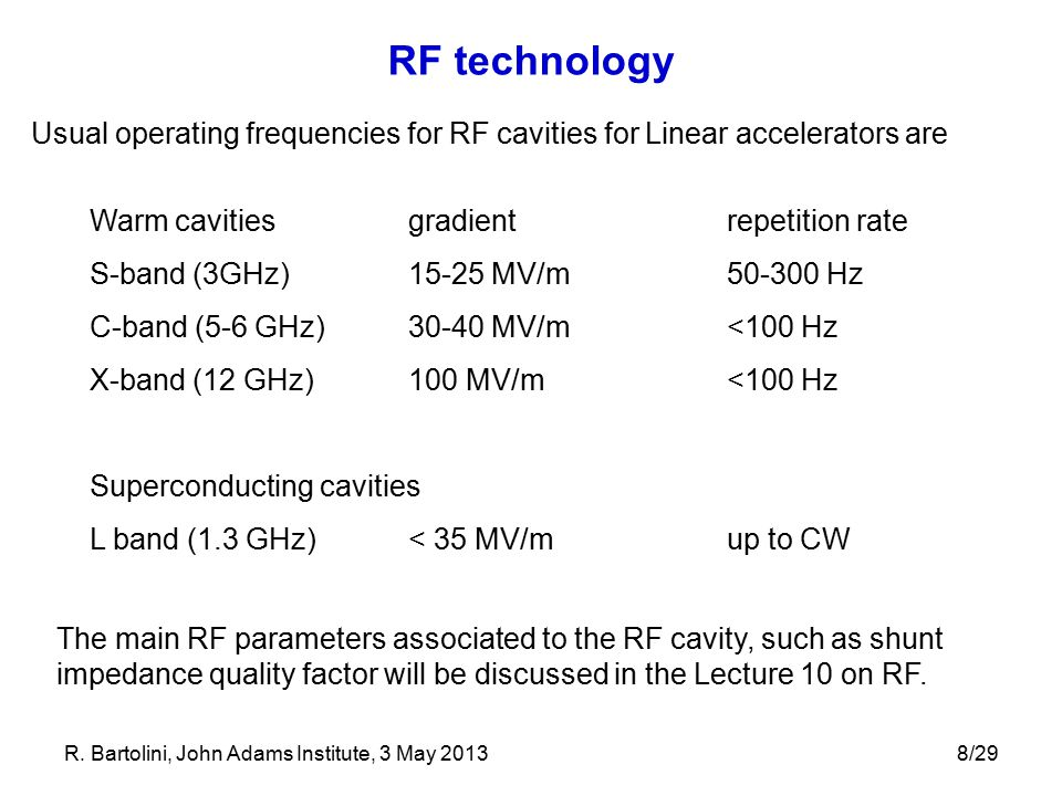 RF technology Usual operating frequencies for RF cavities for Linear accelerators are. Warm cavities gradient repetition rate.