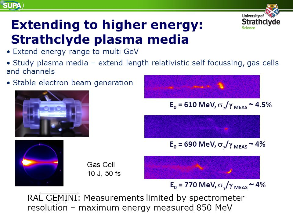 Extending to higher energy: Strathclyde plasma media