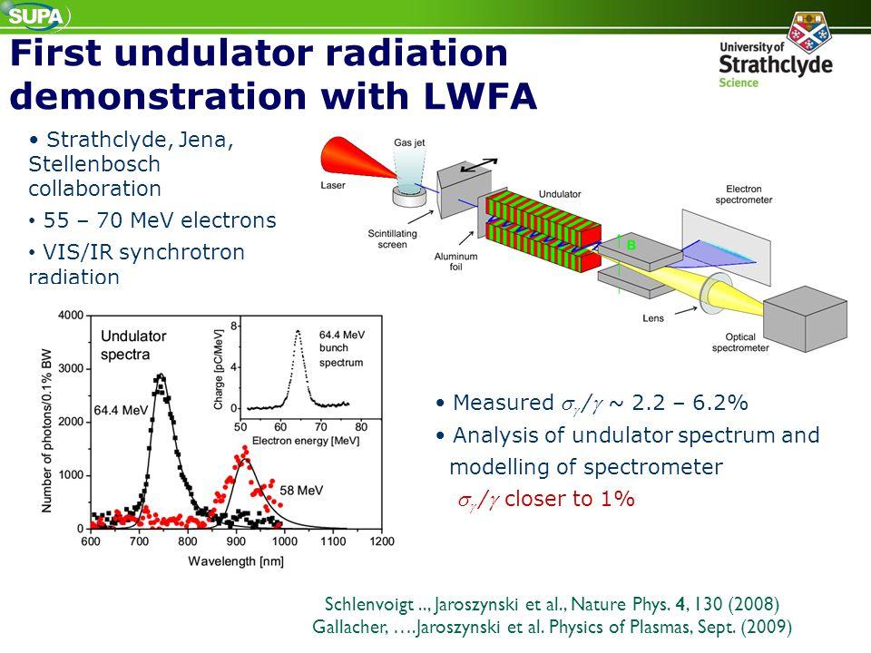 First undulator radiation demonstration with LWFA