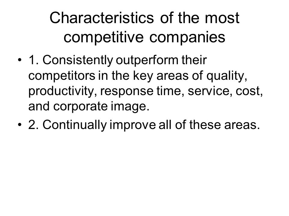 Characteristics of the most competitive companies